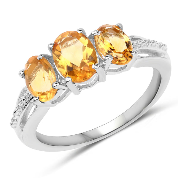 925 Sterling Silver Genuine Citrine Ring (1.66 Carat) Multiple Sizes