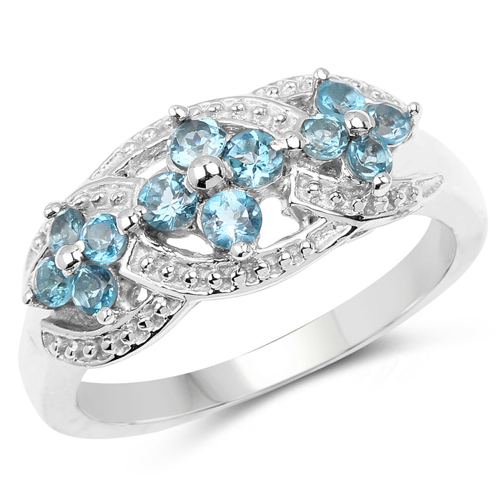 925 Sterling Silver Genuine London Blue Topaz Ring (0.66 Carat) Size 6