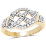925 Sterling Silver & 14K Yellow Gold Plated Genuine White Diamond Ring (0.21 Carat) Multiple Sizes