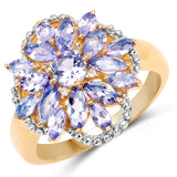 925 Sterling Silver & 14K Yellow Gold Plated Genuine Tanzanite and White Topaz Ring (2.01 Carat) Size 8