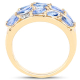 925 Sterling Silver & 14K Yellow Gold Plated Genuine Tanzanite and White Topaz Ring (1.56 Carat) Size 6