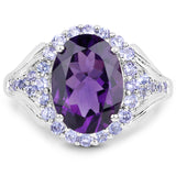 925 Sterling Silver Genuine Amethyst and Tanzanite Ring (5.90 Carat) Multiple Sizes