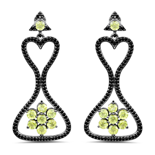 925 Sterling Silver Genuine Peridot and Black Spinel Earrings (6.93 Carat)