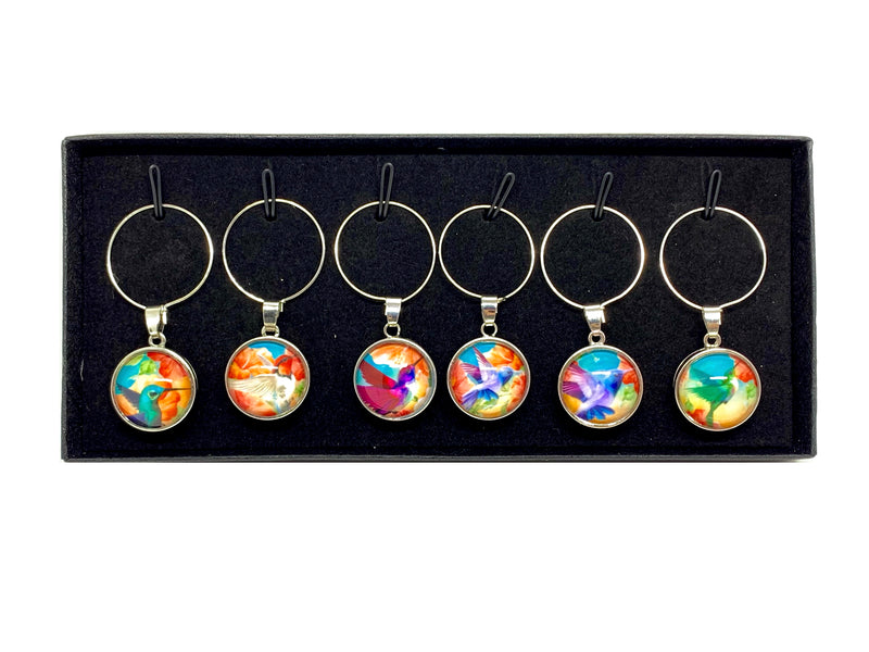 Wine Charms - Tropical Hummingbirds