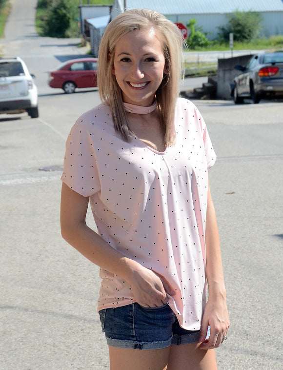 Blush Polka Dot Top with V Neck and Choker Neckline