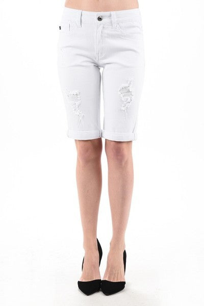 Kan Can White Distressed Bermuda Shorts