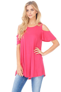Cold Shoulder Tee in RASPBERRY