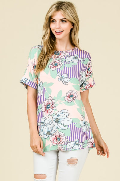 Relaxed Floral Print Short Sleeve Top in BLUSH