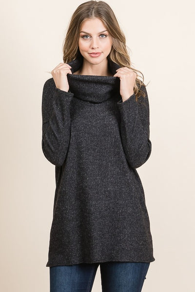 Black Ribbed Long Sleeve Cowl Neck Tunic