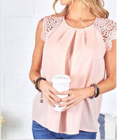 Blush Top with Crochet Sleeve Detail