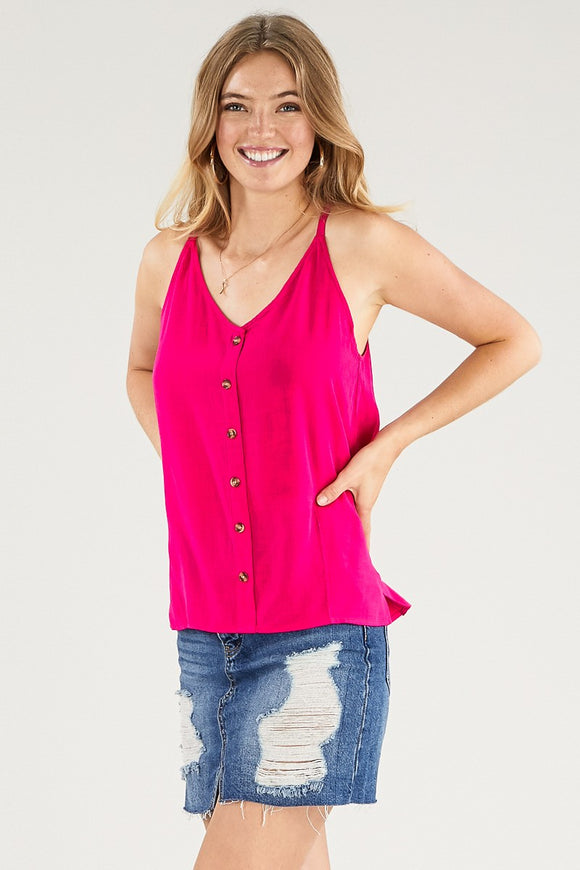 Hot Pink Button Down Tank