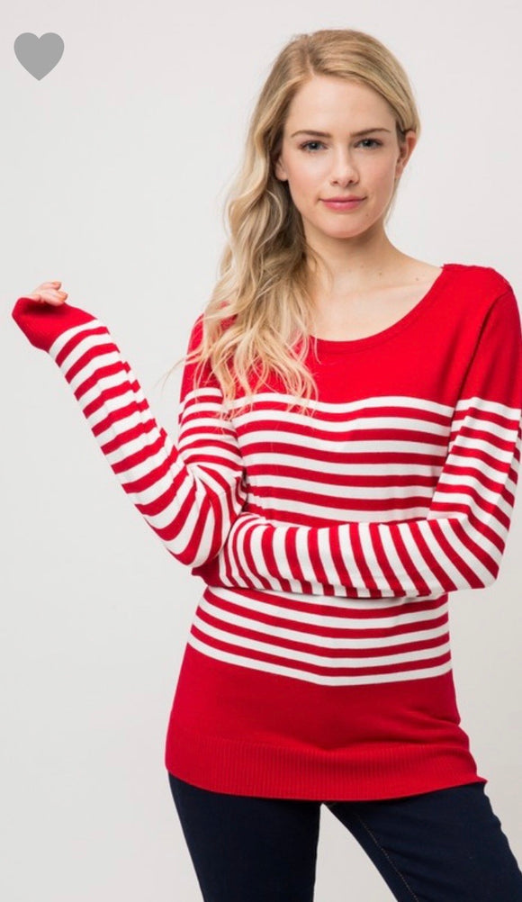 Red and Ivory Stripe Round Neck Sweater