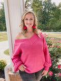 Hot Pink V Neck Knitted Sweater