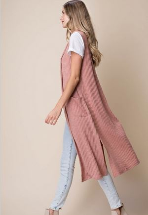 Mauve Sleeveless Long Sweater Cardigan