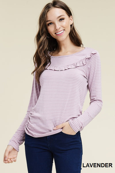 Lavender & Striped Long Sleeve w/ Ruffle Neck