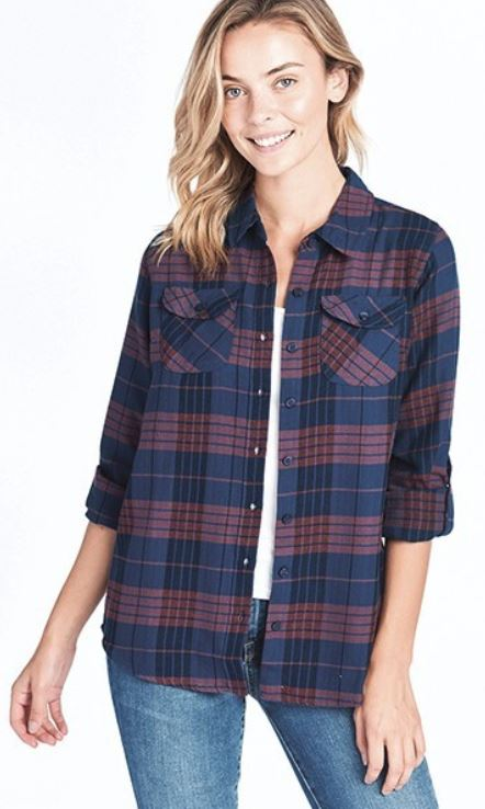 Maroon and Navy Plaid