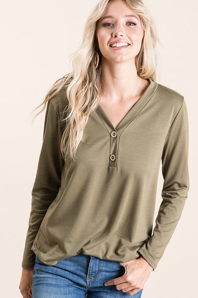 Olive Green Faux Button Long Sleeve Top