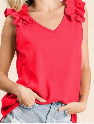 Red Coral V Neck Tank w/Ruffle Shoulders