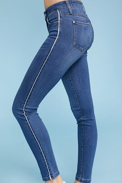 Side Pipe Skinny Jeans