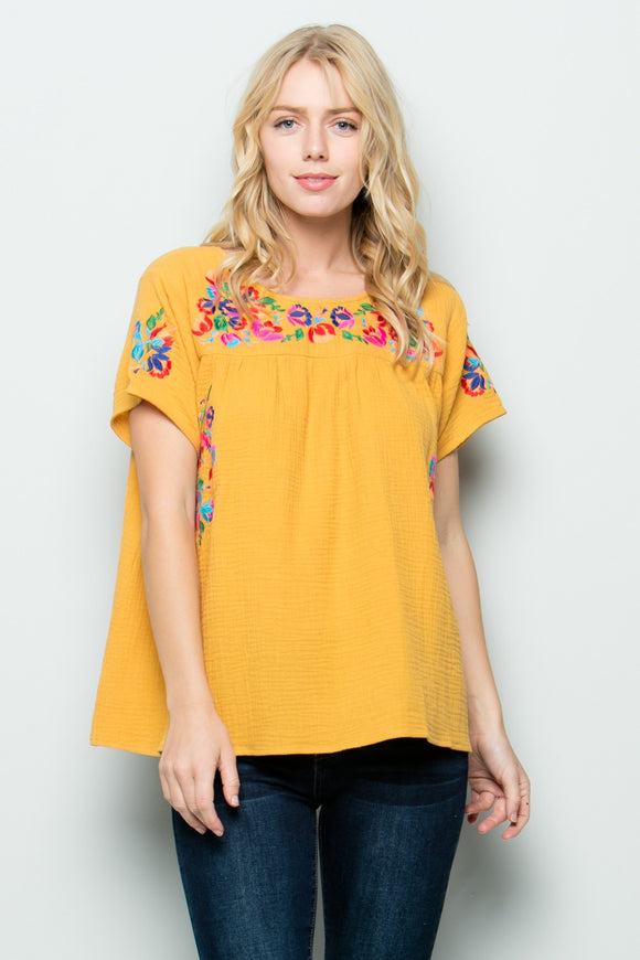 Yellow Floral Embroidery Top