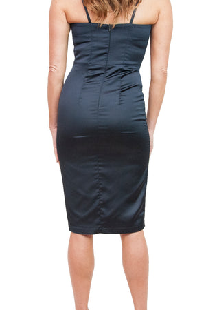 Joelle Navy Satin Dress