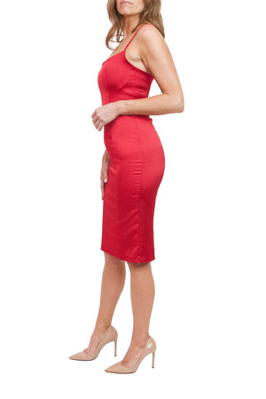 Joelle Red Satin Dress
