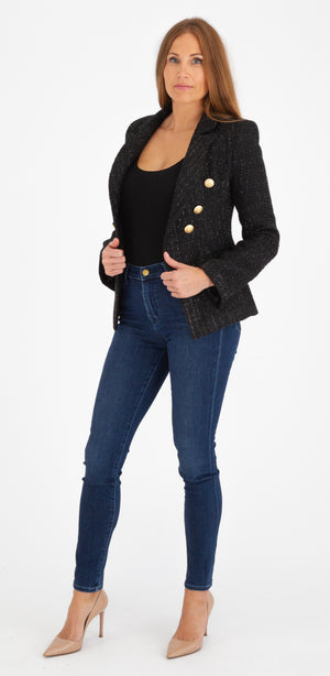 Sophia Gold Button Black Tweed Blazer