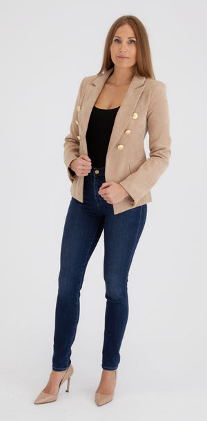 Sophia Gold Button Tan Corduroy Blazer