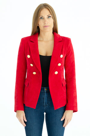 Sophia Gold Button Red Corduroy Blazer