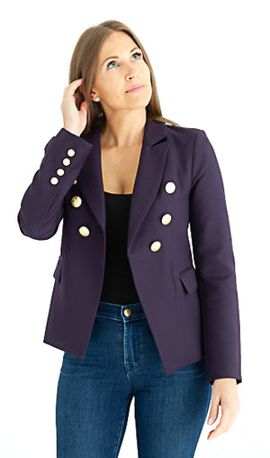 Sophia Gold Button Purple Blazer