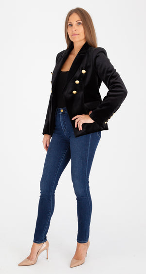 Sophia Gold Button Black Velvet Blazer