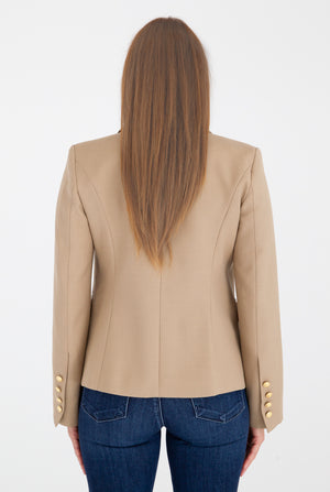 Sophia Gold Button Camel Blazer