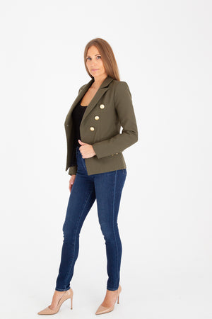 Sophia Gold Button Army Green Blazer