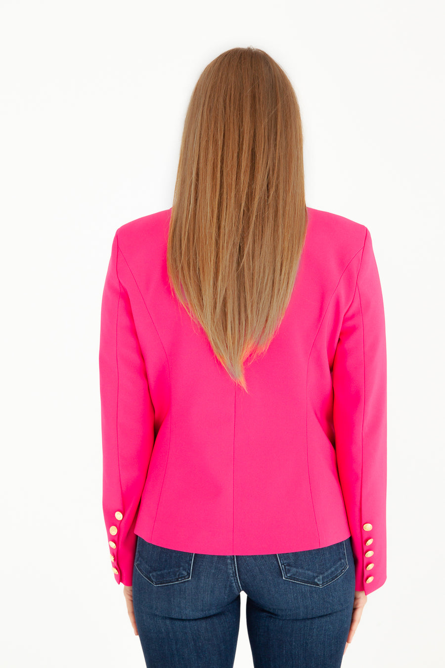 Sophia Gold Button Fuchia Blazer