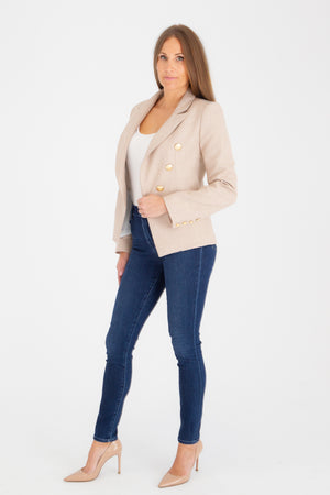 Sophia Gold Button Oatmeal Blazer