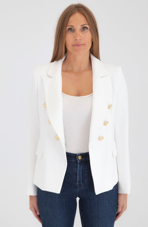 Sophia Gold Button White Blazer