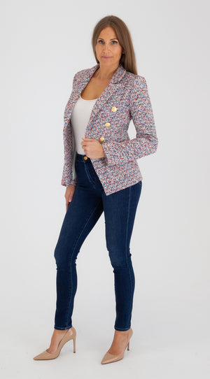 Sophia Gold Button Light Blue Tweed Blazer