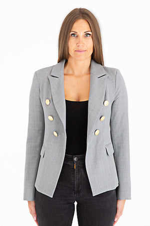 Sophia Gold Button Grey Blazer