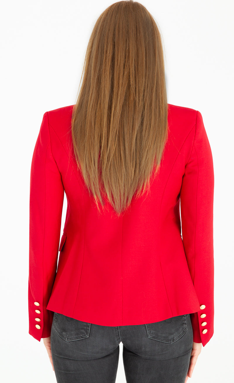 Sophia Gold Button Red Blazer