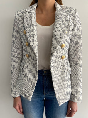 Sophia Gold Button White/Grey Blazer