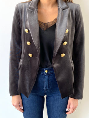 Sophia Gold Button Charcoal Velvet Blazer