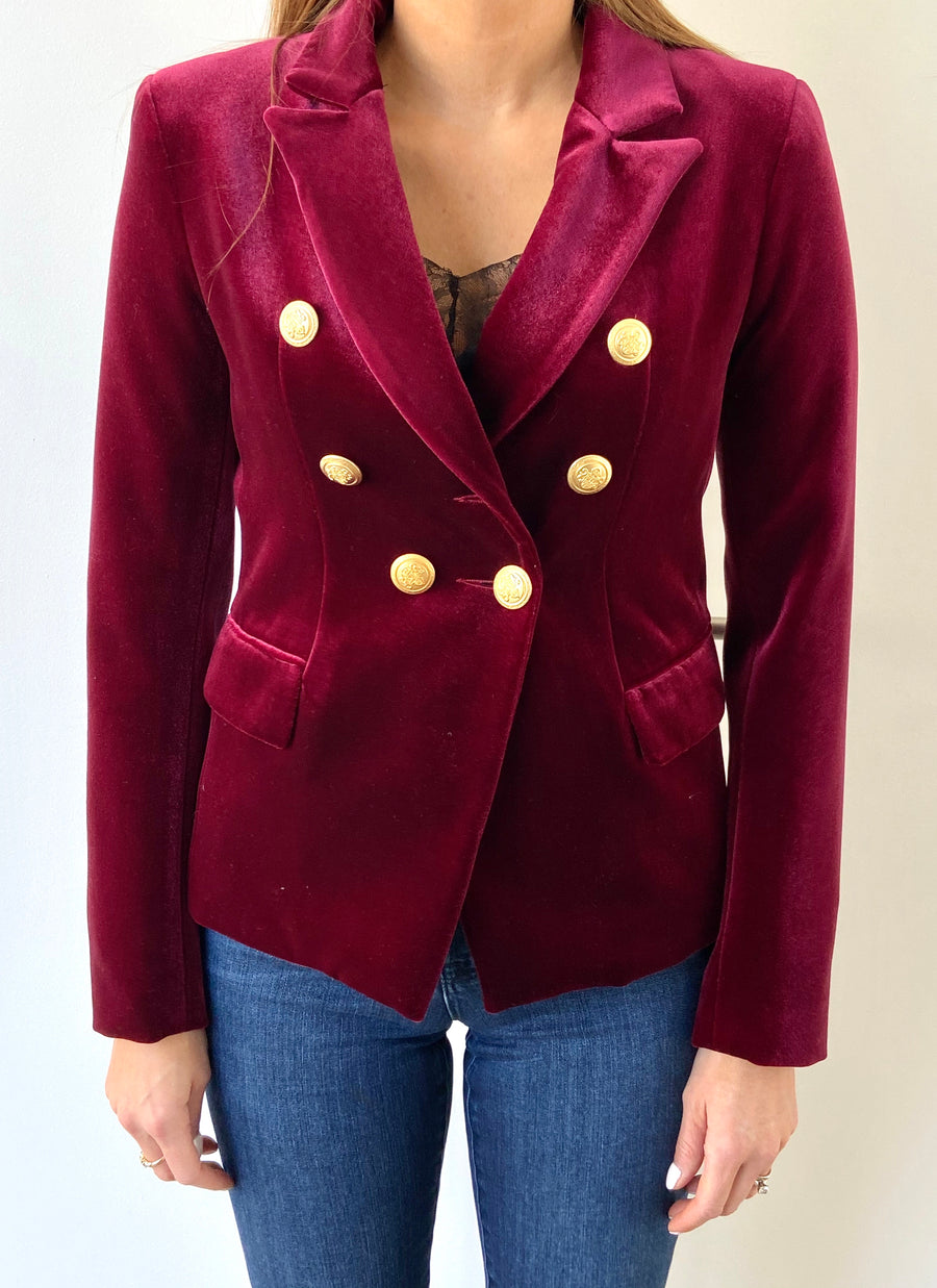 Sophia Gold Button Burgundy Velvet Blazer
