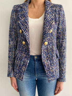 Sophia Gold Button Blue Tweed Blazer