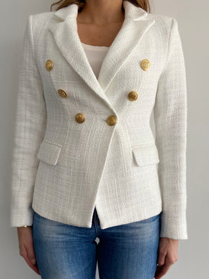 Sophia Gold Button White Tweed Blazer