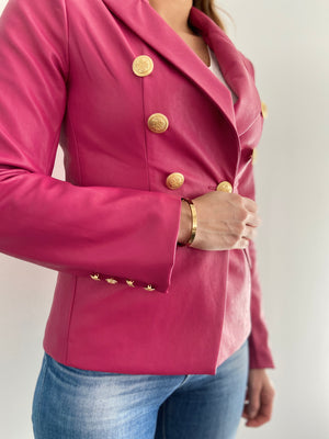 Sophia Gold Button Fuchsia Vegan Leather Blazer