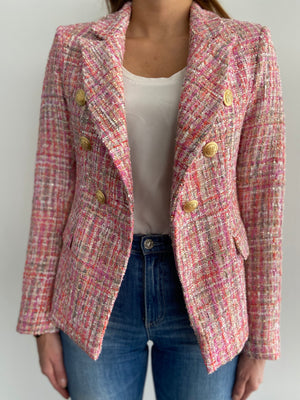 Sophia Gold Button Pink Tweed Blazer