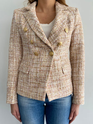 Sophia Gold Button Beige Tweed Blazer