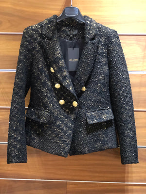 Sophia Gold Button Gold/Black Tweed Blazer