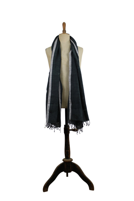 Linen  scarf - black with white border