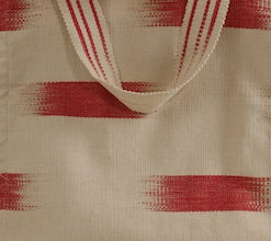 Handwoven cotton bag Beige/Red